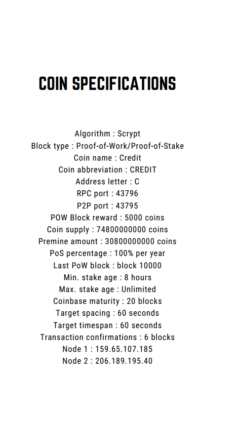 Credit Coin and blockchain specifications