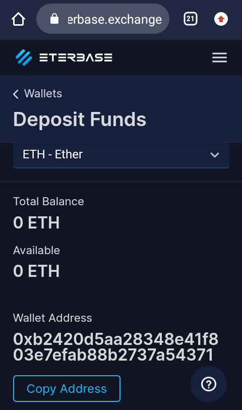 how to copy ethereum address while depositing in eterbase exchange