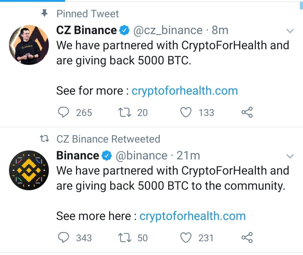 Twitter account of Binance and CZ hacked