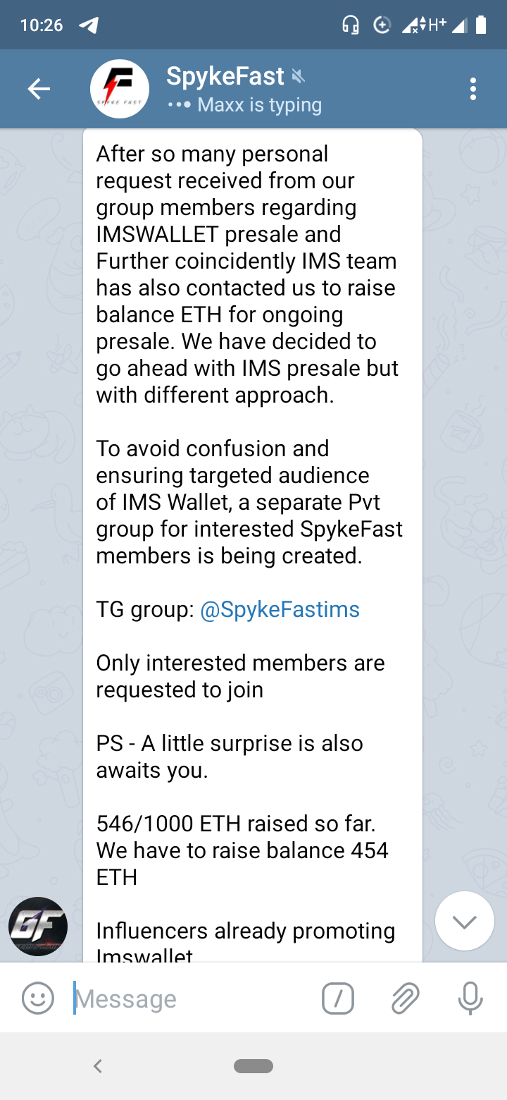 SpykeFast holding ims wallet scam DeFi presale