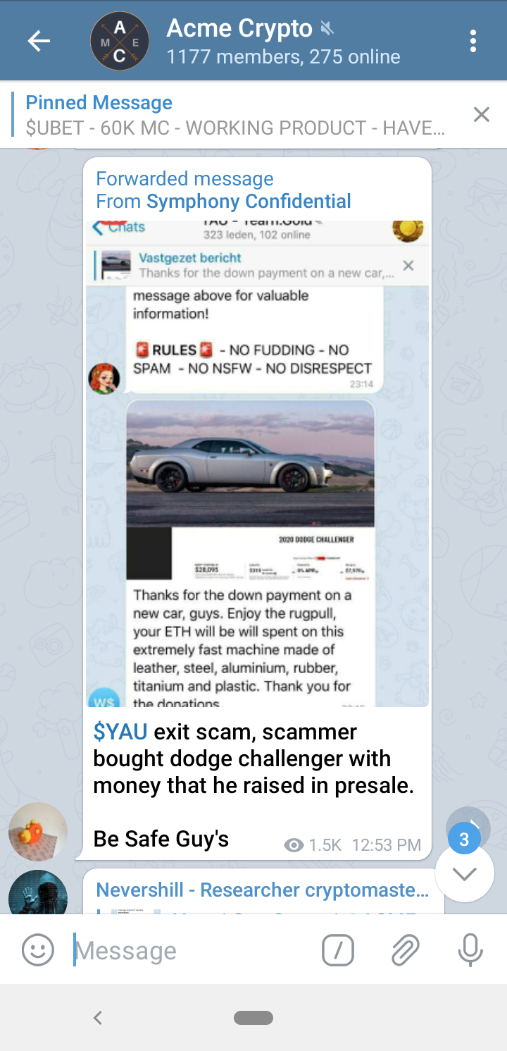 $YAU developer exit scammed and wants to buy dodge