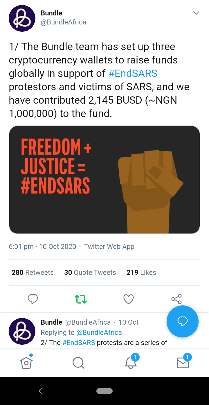 Bundle Africa supports #EndSARS protest
