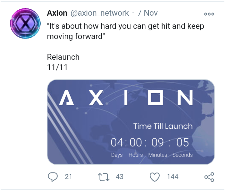 Axion relaunch count down